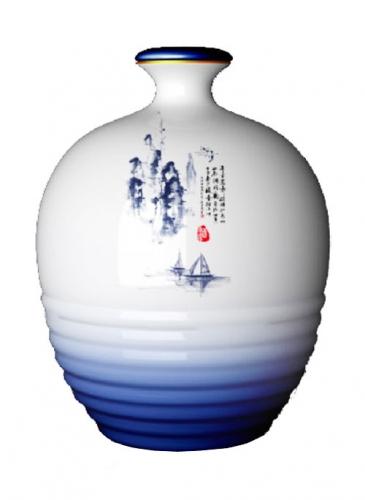 乳白烤花玻璃酒瓶
