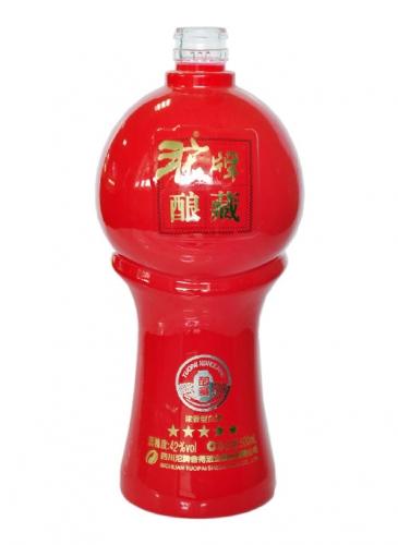 沱牌彩釉烤花玻璃瓶